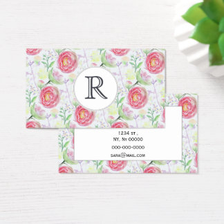 Beautiful Modern Watercolor Floral Pattern Business Card