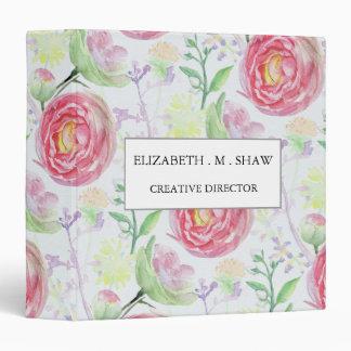 Beautiful Modern Watercolor Floral Pattern Vinyl Binder