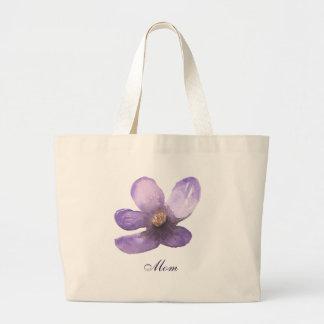 Beautiful Mom Watercolor purple flower Large Tote Bag