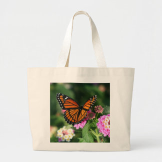 Beautiful Monarch Butterfly on Lantana Flower Large Tote Bag