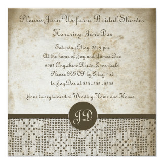 Beautiful Monogram Antique Paper Crochet Lace Card