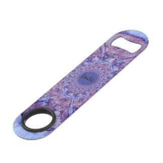 Beautiful monogrammed colorful purple kaleidoscope speed bottle opener