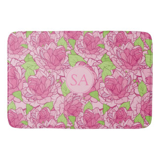 Beautiful Monogrammed Pink Roses Bath Mat