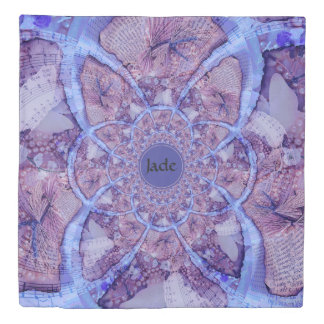 Beautiful monogrammed purple kaleidoscope duvet cover