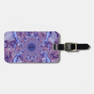 Beautiful monogrammed purple kaleidoscope luggage tag