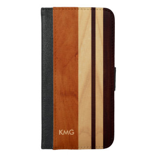 Beautiful Monogrammed Wood Stripes iPhone 6/6s Plus Wallet Case