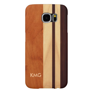 Beautiful Monogrammed Wood Stripes Pattern Samsung Galaxy S6 Cases