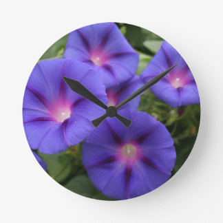 Beautiful Morning Glories in Bloom Round Clock