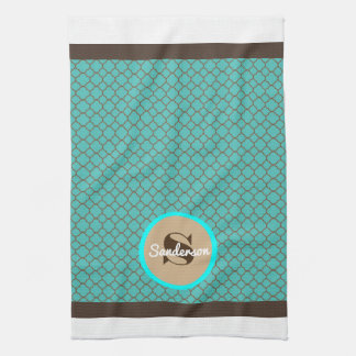 Beautiful Moroccan Teal & Brown w/Family Name Kitchen Towel