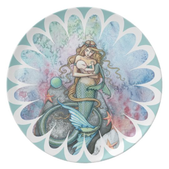 Beautiful Mother and Baby Mermaid Plate