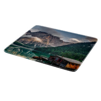 Beautiful mountain and lake landscape in Italy Cutting Board