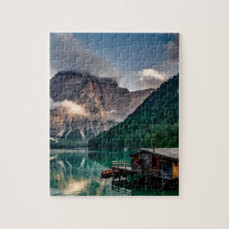 Beautiful mountain and lake landscape in Italy Jigsaw Puzzle