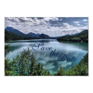 Beautiful Mountain Lake Wedding Save the Date 3.5x5 Paper Invitation Card