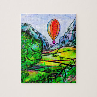 Beautiful mountain landscape with a big balloon jigsaw puzzle