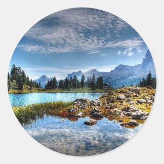 Beautiful Mountains Meadows Lake Scene Stickers