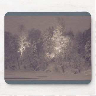 Beautiful mousepad - blizzard by a river.