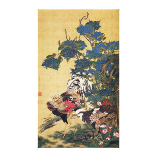 Beautiful Multi-colored Rooster and Hen Canvas Print