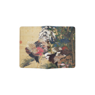 Beautiful Multi-coloured Rooster and Hen Passport Holder