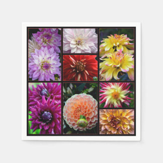 Beautiful multicoloured dahlias print on napkins disposable napkins