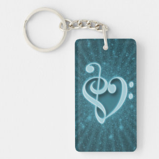 Beautiful music notes put together as a heart Single-Sided rectangular acrylic keychain