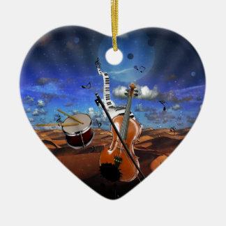 Beautiful music notes violin splatter piano drums ceramic ornament