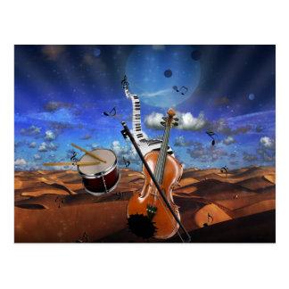 Beautiful music notes violin splatter piano drums postcard