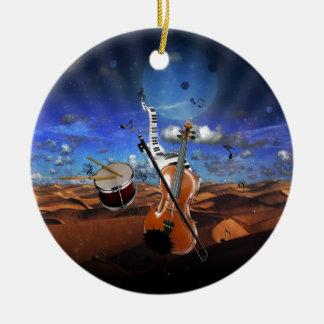 Beautiful music notes violin splatter piano drums round ceramic ornament