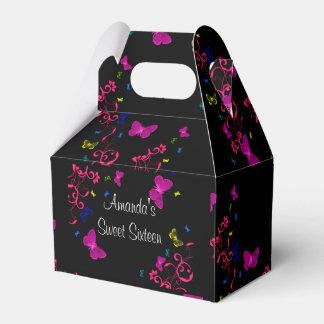Beautiful Neon Butterflies, Sweet Sixteen, Custom Favor Box