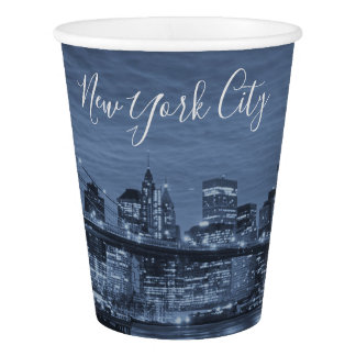 Beautiful New York City Arctic blue Skyline Paper Cup