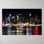 Beautiful New York Night Lights Reflecting River Poster