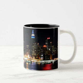 Beautiful New York Night Lights Reflecting River Two-Tone Coffee Mug