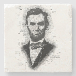 Beautiful Newsprint Portrait of Abraham Lincoln Stone Beverage Coaster