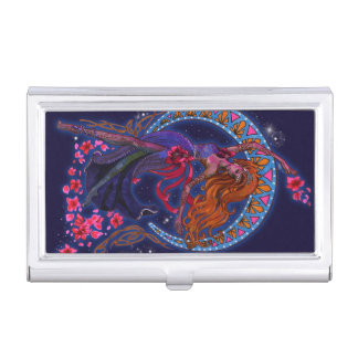 Beautiful night goddes fairy flies with moon business card holder