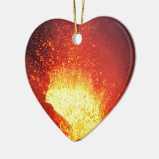 Beautiful night volcanic eruption ceramic heart ornament