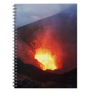 Beautiful night volcanic eruption notebook
