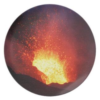 Beautiful night volcanic eruption plate