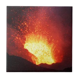 Beautiful night volcanic eruption tiles