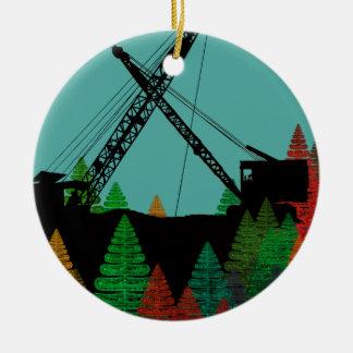 Beautiful Northwest Crane Operating Engineer Art Ceramic Ornament