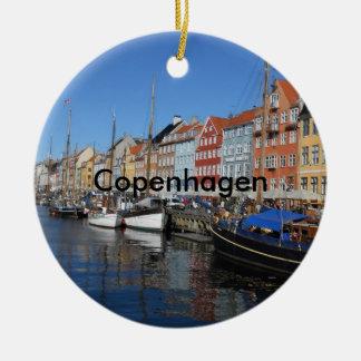 Beautiful Nyhavn, Copenhagen in Denmark Round Ceramic Ornament