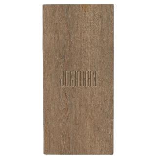 Beautiful Oak Wood Pattern Monogram Wood USB 2.0 Flash Drive