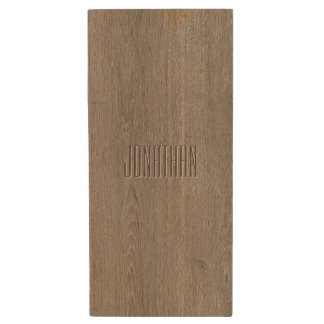 Beautiful Oak Wood Pattern Monogram Wood USB Flash Drive