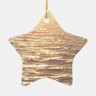 Beautiful Ocean Golden Hour Sunrise Ceramic Star Ornament