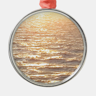 Beautiful Ocean Golden Hour Sunrise Silver-Colored Round Ornament
