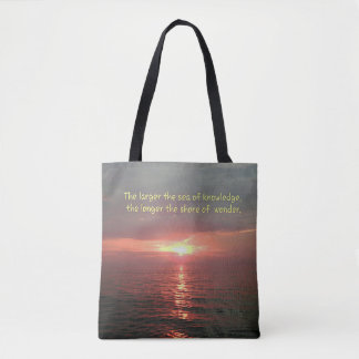 Beautiful Ocean Sunset With Wisdom Quote Tote Bag