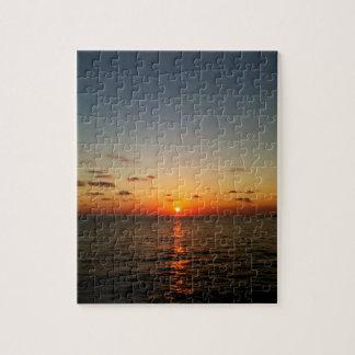 beautiful ocean sunset yellow orange red puzzles