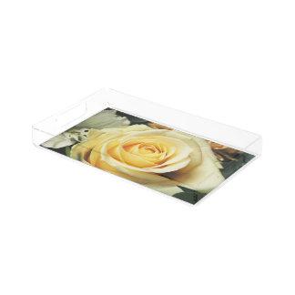 Beautiful Off White Cream Rose Acrylic Tray