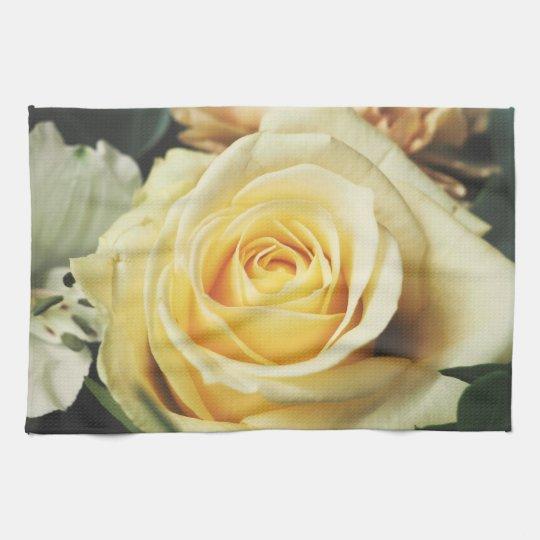 Beautiful Off White Cream Rose Kitchen Towel