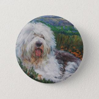 Beautiful Old English Sheepdog Dog Art Painting 2 Inch Round Button