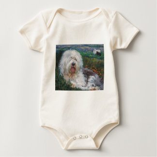 Beautiful Old English Sheepdog Dog Art Painting Baby Bodysuit