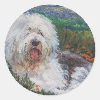 Beautiful Old English Sheepdog Dog Art Painting Classic Round Sticker